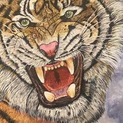 roaring snarl, 24 x 20 inch, the insane soul,24x20inch,canvas,paintings,wildlife paintings,animal paintings,paintings for dining room,paintings for living room,paintings for bedroom,paintings for office,paintings for hotel,paintings for school,paintings for hospital,acrylic color,GAL02055432424
