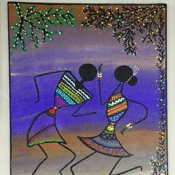warli art - dancing , 10 x 12 inch, radha kannan,10x12inch,canvas,warli paintings,acrylic color,GAL02069732426