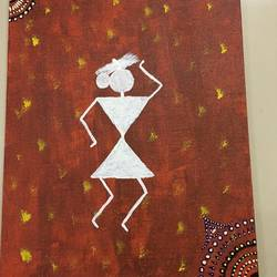 warli art , 10 x 12 inch, radha kannan,10x12inch,canvas,paintings,warli paintings,acrylic color,GAL02069732427