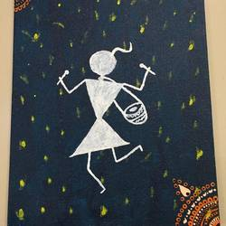 warli art , 10 x 12 inch, radha kannan,10x12inch,canvas,paintings,warli paintings,acrylic color,GAL02069732431