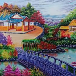 chinese gardern, 18 x 24 inch, anu radha,18x24inch,canvas,paintings,landscape paintings,paintings for dining room,paintings for living room,paintings for bedroom,paintings for office,paintings for kids room,paintings for hotel,acrylic color,GAL02033232437