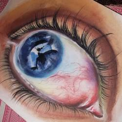 inner eye, 7 x 11 inch, arya  maurya ,7x11inch,ivory sheet,paintings for hospital,paintings for hospital,watercolor,GAL02070532439