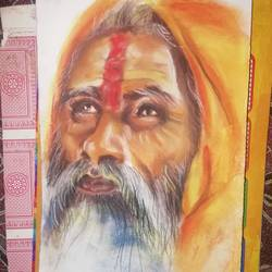 sadhu, 7 x 11 inch, arya  maurya ,7x11inch,thick paper,paintings,realism paintings,mixed media,GAL02070532440