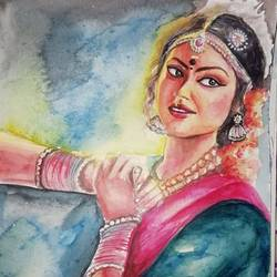 dancing girl, 10 x 14 inch, arya  maurya ,10x14inch,handmade paper,drawings,realism drawings,watercolor,GAL02070532442