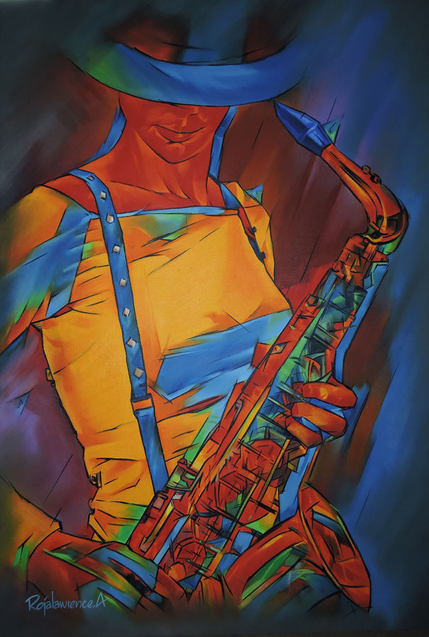 musician , 24 x 36 inch, roja lawrence,abstract paintings,paintings for living room,vertical,canvas,oil,24x36inch,GAL04383246