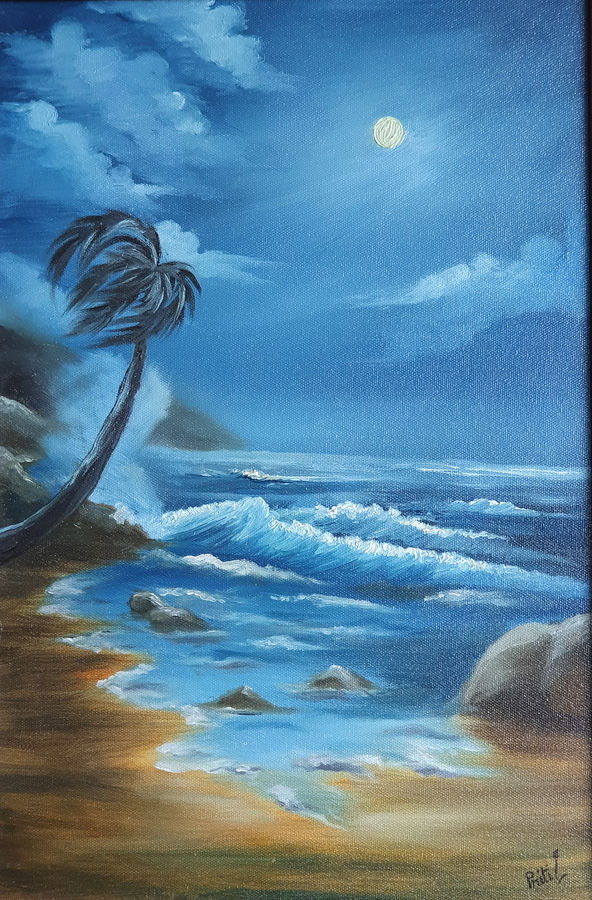 sea under full moon, 12 x 18 inch, priti sarkar,12x18inch,canvas board,paintings,landscape paintings,nature paintings | scenery paintings,paintings for dining room,paintings for living room,paintings for bedroom,paintings for office,paintings for hotel,paintings for school,oil color,GAL02071732462