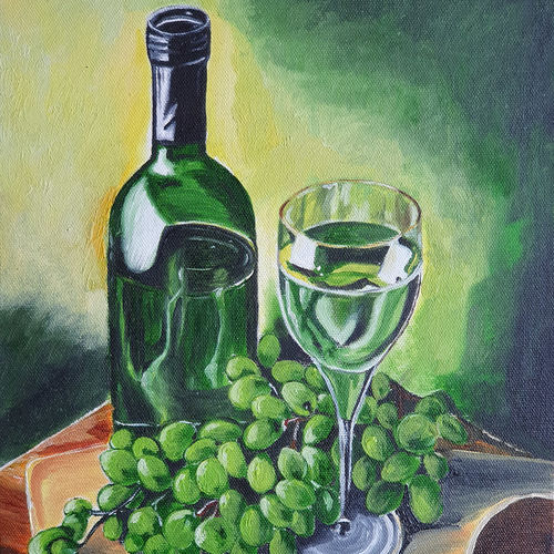 wine & grapes, 10 x 12 inch, priti sarkar,10x12inch,canvas board,paintings,realistic paintings,paintings for dining room,paintings for living room,paintings for bedroom,paintings for hotel,paintings for kitchen,oil color,GAL02071732463