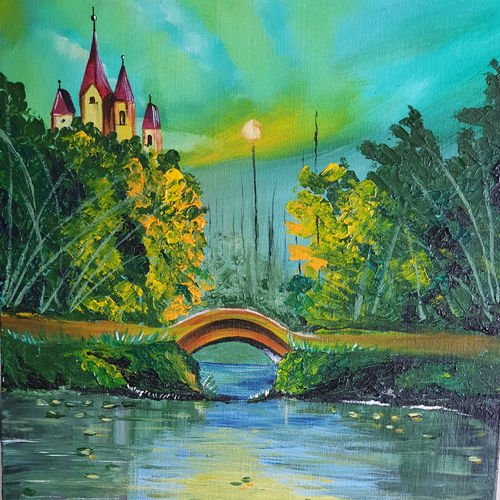 sunset, 16 x 20 inch, priti sarkar,16x20inch,canvas board,paintings,landscape paintings,modern art paintings,nature paintings | scenery paintings,paintings for dining room,paintings for living room,paintings for bedroom,paintings for hotel,paintings for school,acrylic color,metal,GAL02071732464