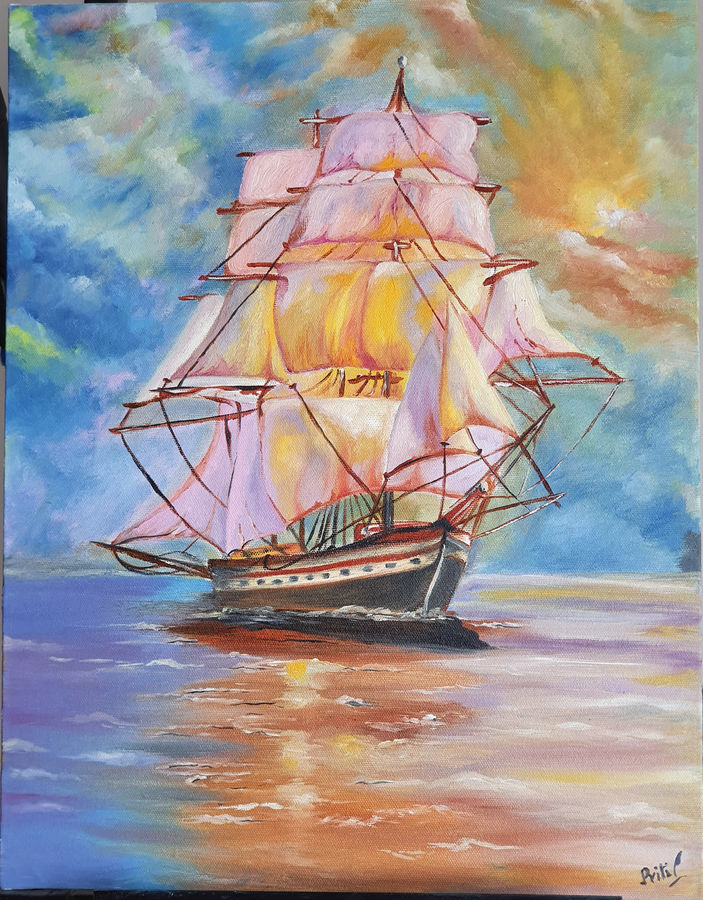 classic pirate ship in the backdrop of a sunset, 14 x 18 inch, priti sarkar,14x18inch,canvas board,paintings,landscape paintings,nature paintings | scenery paintings,paintings for dining room,paintings for living room,paintings for bedroom,paintings for hotel,paintings for school,oil color,GAL02071732465