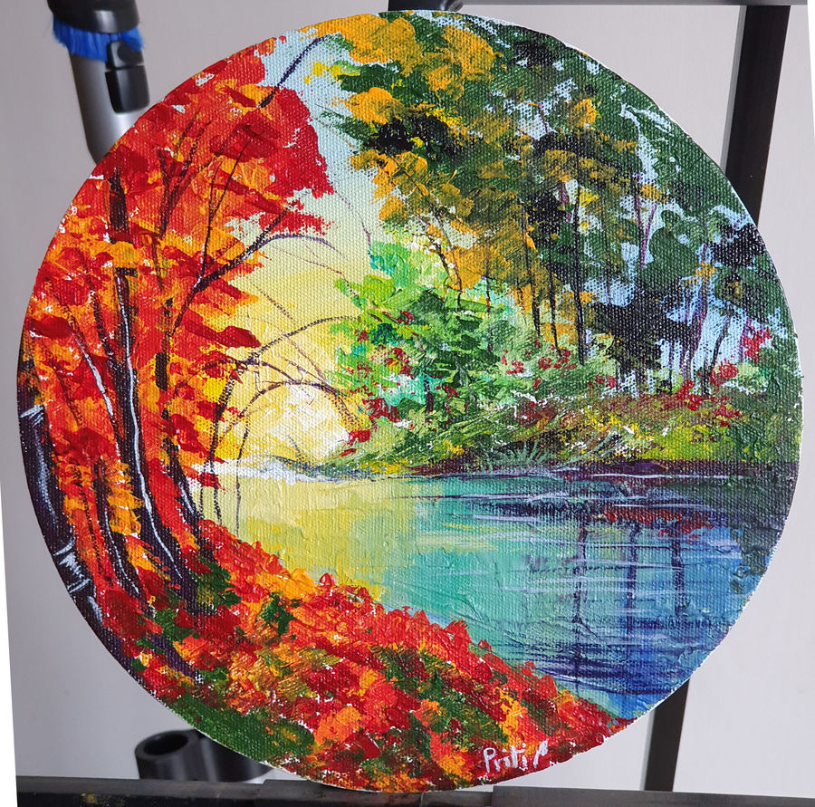 sunset by the creek, 10 x 10 inch, priti sarkar,10x10inch,canvas board,paintings,abstract paintings,landscape paintings,nature paintings | scenery paintings,paintings for dining room,paintings for living room,paintings for bedroom,paintings for office,paintings for bathroom,paintings for kids room,paintings for hotel,paintings for kitchen,paintings for school,paintings for hospital,acrylic color,metal,GAL02071732466