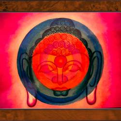 lord buddha in circle , 22 x 16 inch, ajay mishra,22x16inch,canvas,paintings,buddha paintings,oil color,GAL02057232473