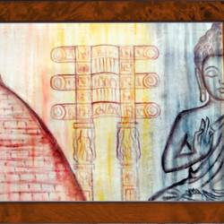 lord buddha and sanchi stupa made in half , 18 x 14 inch, ajay mishra,18x14inch,canvas,paintings,buddha paintings,oil color,GAL02057232474