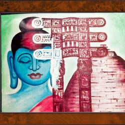 lord buddha in sanchi stupa and torad gate , 18 x 14 inch, ajay mishra,18x14inch,canvas,paintings,buddha paintings,oil color,GAL02057232475