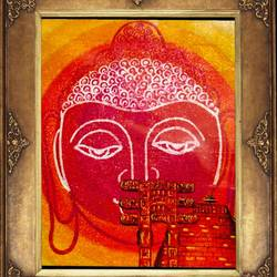 lord buddha in torad gate with sanchi stupa, 28 x 20 inch, ajay mishra,28x20inch,canvas,paintings,buddha paintings,oil color,GAL02057232476