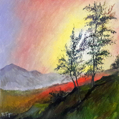 sunny valley, 8 x 9 inch, rambling tiger,impressionist paintings,paintings for bedroom,nature paintings,love paintings,canvas,oil paint,8x9inch,GAL08863248Nature,environment,Beauty,scenery,greenery,trees,mountains,beautiful