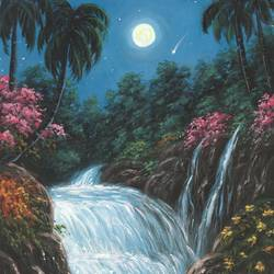 the moonlight waterfall, 16 x 12 inch, niraj pradhan,16x12inch,canvas board,paintings,wildlife paintings,flower paintings,landscape paintings,nature paintings | scenery paintings,art deco paintings,realism paintings,realistic paintings,water fountain paintings,paintings for dining room,paintings for living room,paintings for bedroom,paintings for office,paintings for kids room,paintings for hotel,paintings for kitchen,paintings for school,paintings for hospital,acrylic color,GAL049232480