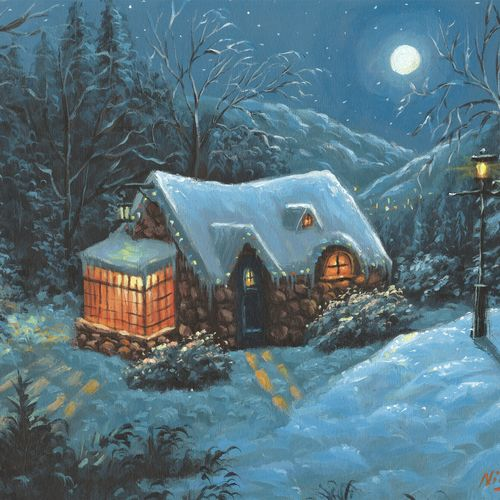 the christmas cottage, 16 x 12 inch, niraj pradhan,16x12inch,canvas board,paintings,cityscape paintings,landscape paintings,nature paintings | scenery paintings,art deco paintings,realism paintings,realistic paintings,paintings for dining room,paintings for living room,paintings for bedroom,paintings for office,paintings for kids room,paintings for hotel,paintings for kitchen,paintings for school,paintings for hospital,acrylic color,GAL049232481