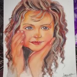 baby girl portrait , 10 x 14 inch, arya  maurya ,10x14inch,drawing paper,drawings,portrait drawings,mixed media,GAL02070532492