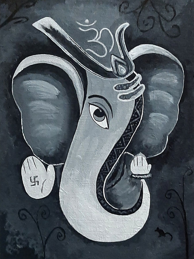 shree ganesh, 12 x 16 inch, tejal bhagat,12x16inch,canvas board,paintings,conceptual paintings,expressionism paintings,impressionist paintings,photorealism paintings,photorealism,realism paintings,surrealism paintings,ganesha paintings | lord ganesh paintings,love paintings,children paintings,lord shiva paintings,paintings for dining room,paintings for living room,paintings for bedroom,paintings for office,paintings for kids room,paintings for hotel,paintings for kitchen,paintings for school,paintings for hospital,acrylic color,GAL02041532493
