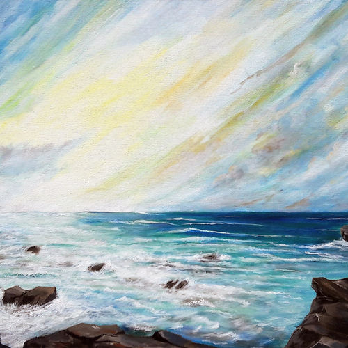 seashore - landscape work, 24 x 18 inch, seby augustine,24x18inch,canvas,paintings,landscape paintings,nature paintings | scenery paintings,photorealism paintings,realism paintings,contemporary paintings,paintings for dining room,paintings for living room,paintings for bedroom,paintings for office,paintings for bathroom,paintings for kids room,paintings for hotel,paintings for school,paintings for hospital,acrylic color,GAL015032496