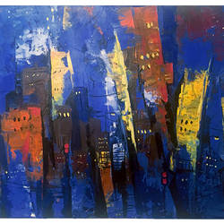 city at night, 20 x 30 inch, mahir rastogi,abstract paintings,canvas,acrylic color,20x30inch,GAL022325