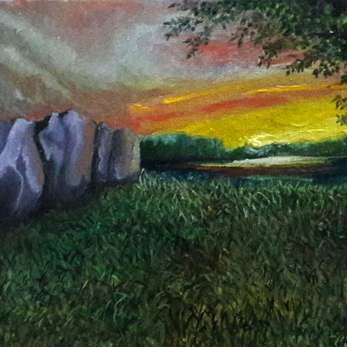 horizon, 8 x 6 inch, rambling tiger,impressionist paintings,paintings for living room,canvas,oil paint,8x6inch,GAL08863250