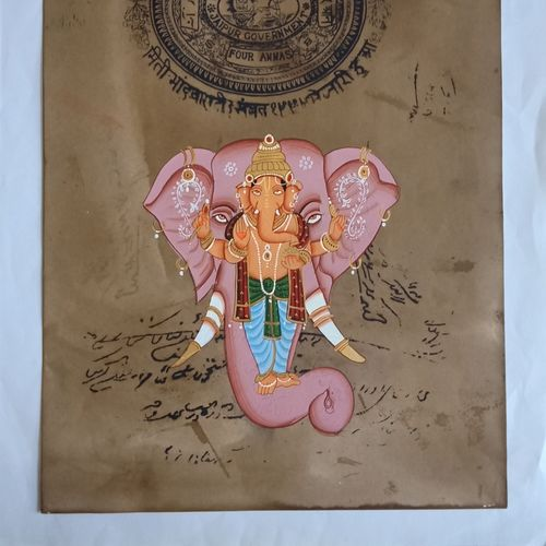 ganesha, 9 x 13 inch, abhishek joshi,9x13inch,paper,paintings,miniature painting.,paintings for dining room,paintings for living room,paintings for bedroom,paintings for office,paintings for hotel,natural color,GAL01642532501