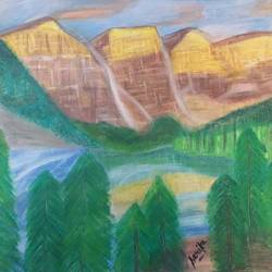 beautiful mountains, 21 x 19 inch, sarika kewalramani.nathani,21x19inch,canvas,paintings,landscape paintings,pastel color,GAL02047332504