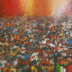 my home town, 72 x 48 inch, m. singh,72x48inch,canvas,paintings,abstract paintings,landscape paintings,modern art paintings,contemporary paintings,paintings for dining room,paintings for living room,paintings for bedroom,paintings for office,paintings for kids room,paintings for hotel,paintings for school,paintings for hospital,acrylic color,GAL0537732506