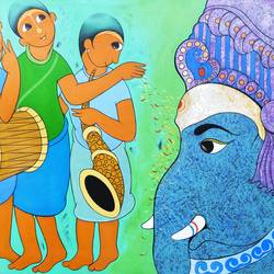 ganesha worship, 60 x 36 inch, dnyaneshwar  bembade ,60x36inch,canvas,paintings,figurative paintings,paintings for dining room,paintings for living room,paintings for office,paintings for kids room,paintings for hotel,acrylic color,GAL046432509