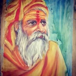 sadhu portrait , 12 x 20 inch, arya  maurya ,12x20inch,drawing paper,drawings,portrait drawings,mixed media,GAL02070532524