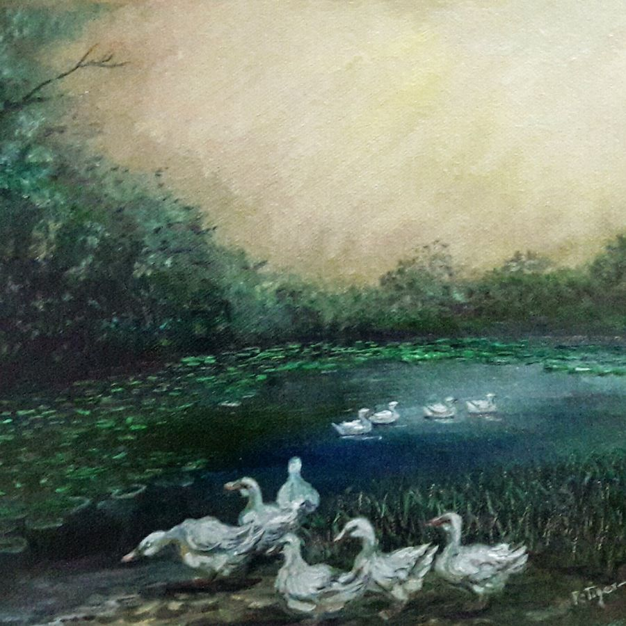 ducks by the pond, 9 x 10 inch, rambling tiger,paintings for living room,realism paintings,nature paintings,paintings for office,canvas,oil paint,9x10inch,GAL08863253Nature,environment,Beauty,scenery,greenery