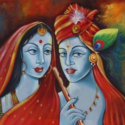 the divine radha krishna-01, 48 x 24 inch, shubham sheel gautam,48x24inch,canvas,paintings,religious paintings,acrylic color,GAL02078832535