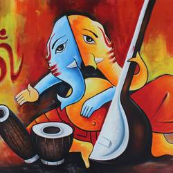 musical ganesha, 36 x 24 inch, shubham sheel gautam,36x24inch,canvas,paintings,ganesha paintings | lord ganesh paintings,acrylic color,GAL02078832536