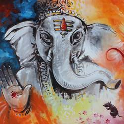 ganesha with mushak, 36 x 24 inch, shubham sheel gautam,36x24inch,canvas,ganesha paintings | lord ganesh paintings,acrylic color,GAL02078832537