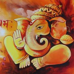 ganesha with mushak-01, 36 x 24 inch, shubham sheel gautam,36x24inch,canvas,paintings,ganesha paintings | lord ganesh paintings,acrylic color,GAL02078832538