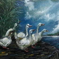 a paddling of ducks, 7 x 5 inch, rambling tiger,realism paintings,paintings for living room,canvas,oil paint,7x5inch,GAL08863254