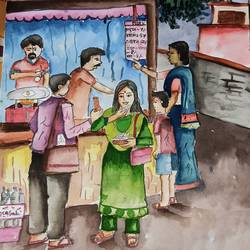 food mart, 16 x 12 inch, subham roy,16x12inch,drawing paper,drawings,watercolor,GAL01992532541