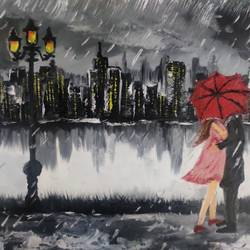romance in rain , 10 x 12 inch, abhishek  nandawdekar,10x12inch,canvas,paintings,landscape paintings,acrylic color,oil color,GAL02078132544