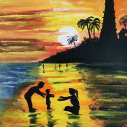 family, 10 x 12 inch, abhishek  nandawdekar,10x12inch,canvas,landscape paintings,acrylic color,oil color,GAL02078132545
