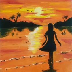 girl at the beach sunset viiew, 10 x 12 inch, abhishek  nandawdekar,10x12inch,canvas,paintings,landscape paintings,acrylic color,oil color,GAL02078132547