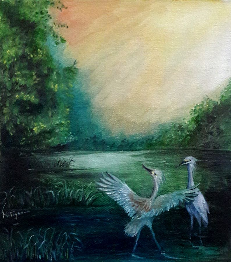 two white cranes, 9 x 10 inch, rambling tiger,realism paintings,paintings for living room,canvas,oil paint,9x10inch,GAL08863255