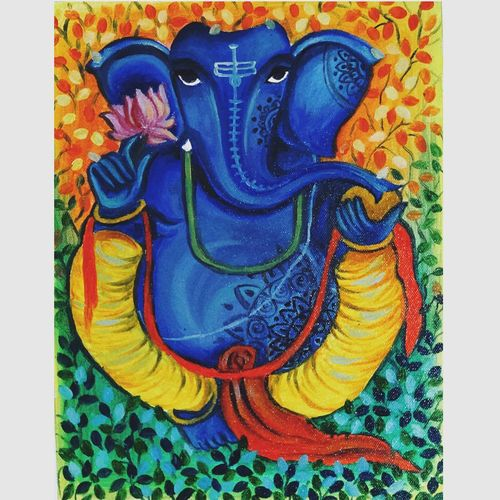 ganapati, 12 x 12 inch, shreyashi das,12x12inch,canvas,paintings,abstract paintings,figurative paintings,folk art paintings,modern art paintings,religious paintings,art deco paintings,ganesha paintings | lord ganesh paintings,kids paintings,paintings for dining room,paintings for living room,paintings for bedroom,paintings for office,paintings for bathroom,paintings for kids room,paintings for hotel,paintings for school,paintings for hospital,oil color,GAL01764532553