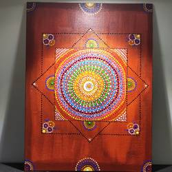 dot mandala, 30 x 40 inch, radha kannan,30x40inch,canvas,paintings,religious paintings,acrylic color,GAL02069732555