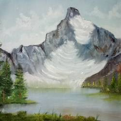 mountain glacier, 27 x 19 inch, hriday  das,nature paintings,paintings for living room,canvas,oil,27x19inch,GAL09833256Nature,environment,Beauty,scenery,greenery,mountain,glacier,snow,water,trees,cold,clouds