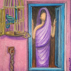 self-imprisoner, 10 x 13 inch, subharanjan basumallick,10x13inch,paper,paintings,figurative paintings,modern art paintings,conceptual paintings,paintings for living room,paintings for bedroom,pastel color,GAL02079832561