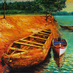 phalguni river bank, 24 x 20 inch, muralidhar suvarna,24x20inch,canvas board,paintings,landscape paintings,nature paintings | scenery paintings,acrylic color,GAL0456932566