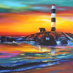 kaup beach light house, 30 x 24 inch, muralidhar suvarna,30x24inch,canvas,paintings,landscape paintings,nature paintings | scenery paintings,acrylic color,GAL0456932567