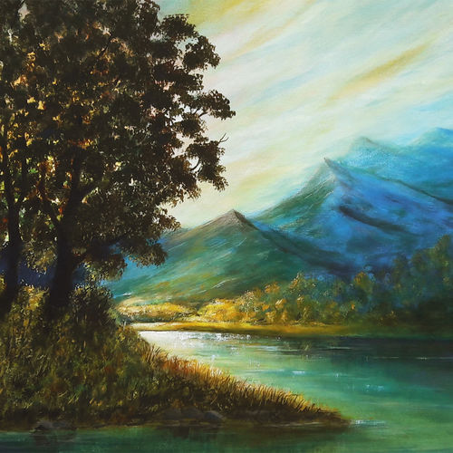 morning rays, 24 x 18 inch, seby augustine,24x18inch,canvas,paintings,landscape paintings,nature paintings | scenery paintings,realism paintings,paintings for dining room,paintings for living room,paintings for bedroom,paintings for office,paintings for kids room,paintings for hotel,paintings for school,paintings for hospital,acrylic color,GAL015032571
