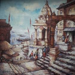 varanasi series-3, 22 x 22 inch, shubhashis mandal,22x22inch,handmade paper,paintings,religious paintings,paintings for dining room,paintings for living room,paintings for bedroom,paintings for office,paintings for hotel,watercolor,GAL02057432573